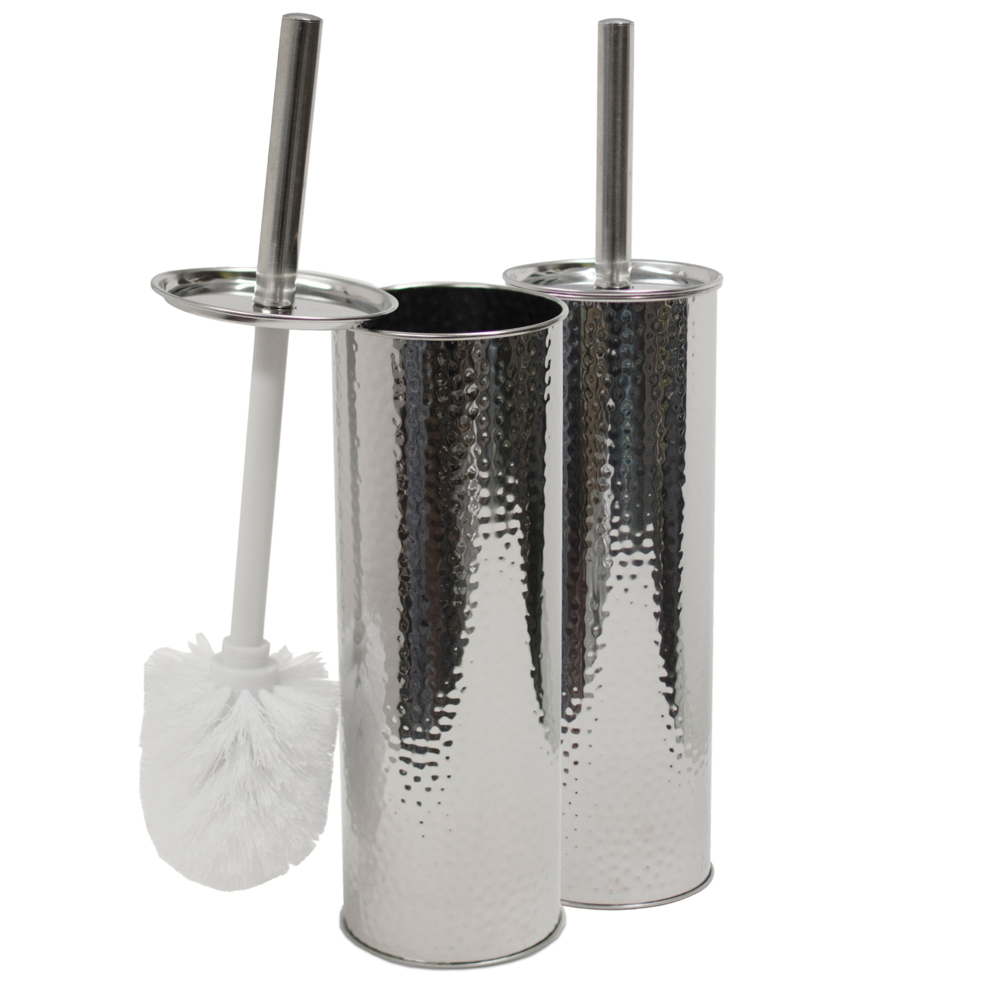 Oasis Collection Stainless Steel Toilet Brush & Holder, TB029830, Accent Hammered Mirror Finish - 2 Pack
