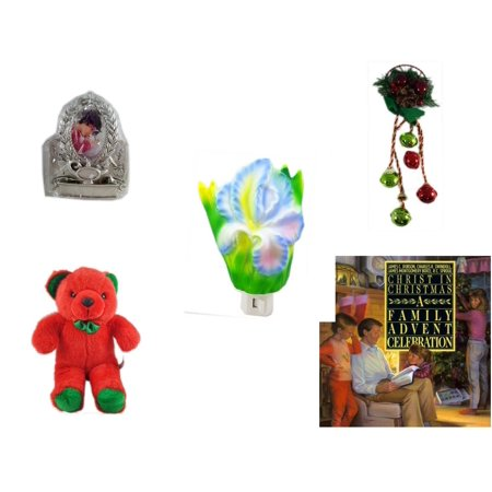 Christmas Fun Gift Bundle [5 Piece] - Hallmark Academics Photo Frame Ornament QXG4795 - Festive Holly Berry & Pinecone Door Knob Jingler - Flower Nightlight Iris - Soft & Cuddly