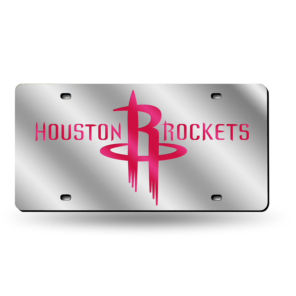 Houston Rockets Deluxe Mirrored Laser Cut License Plate