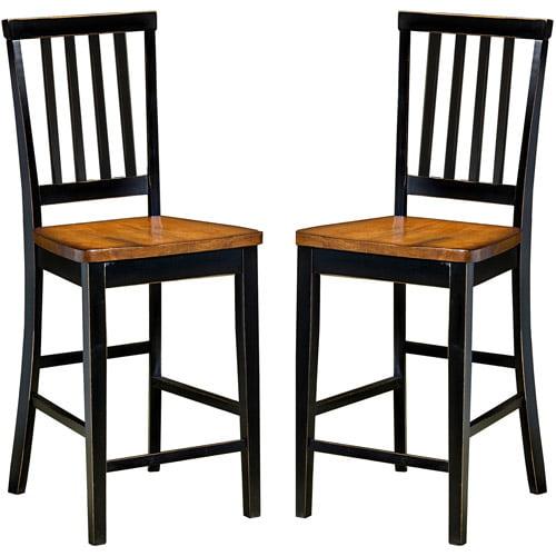 "Imagio Home by Intercon Arlington 30"" Slat Back Bar Stool, Set of 2, Black and Java by"