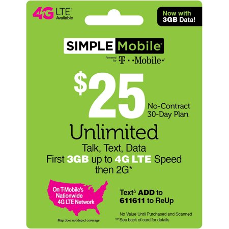 Simple Mobile $25 Unlimited Talk, Text & Data (First 3GB up to 4G LTE† then 2G*) 30-Day Plan (Email