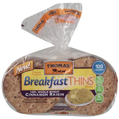 Thomas' 100% Whole Wheat Cinnamon Raisin Breakfast Thins Rounds, 8 count