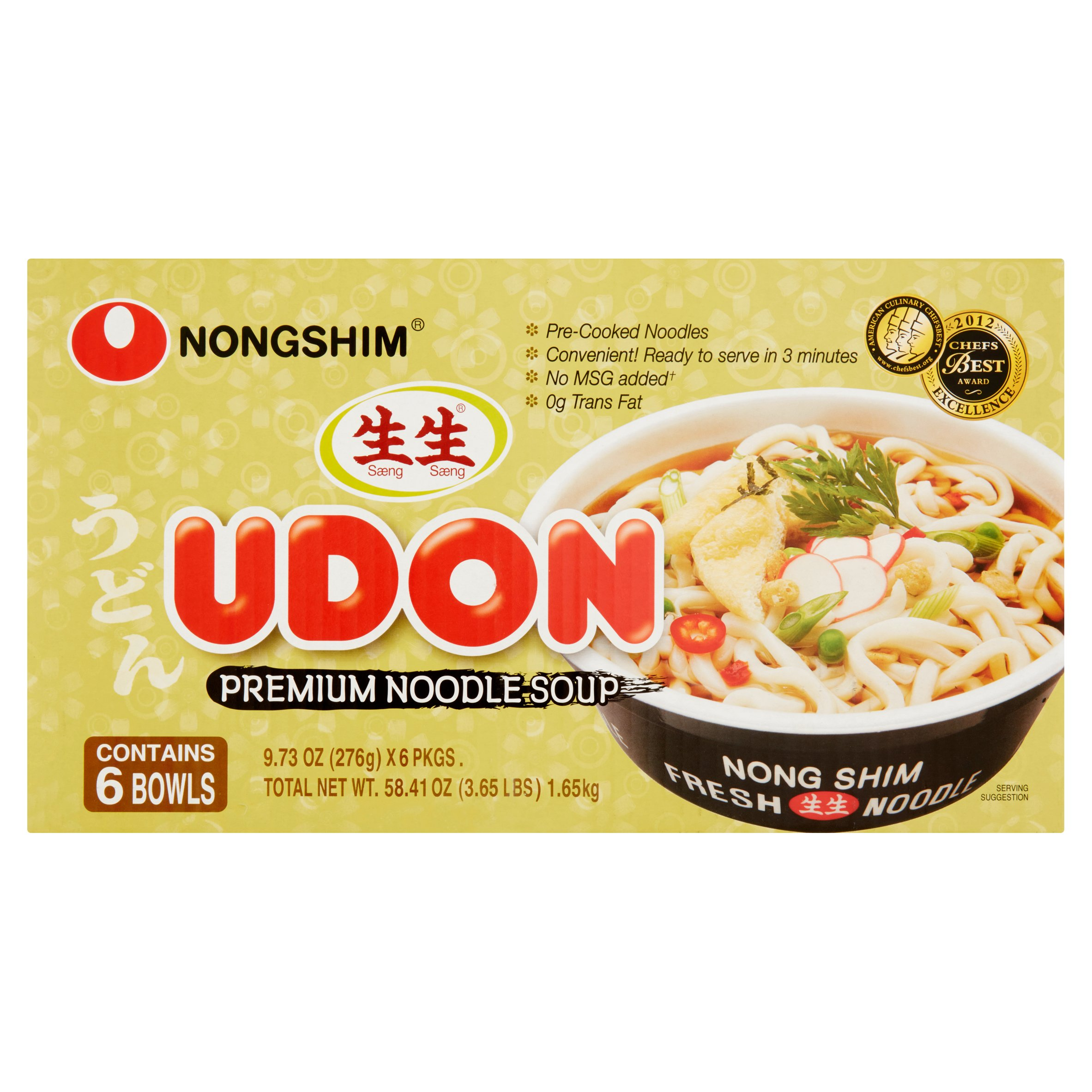 Nongshim Udon Original Premium Noodle Soup, 9.73 oz (Pack of 6)