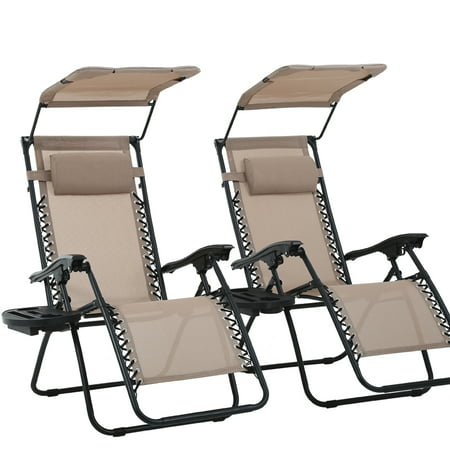 2 PCS Zero Gravity Chair Lounge Patio Chairs With Canopy Cup Holder ()