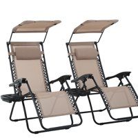 2 PCS Zero Gravity Chair Lounge Patio Chairs With Canopy Cup Holder