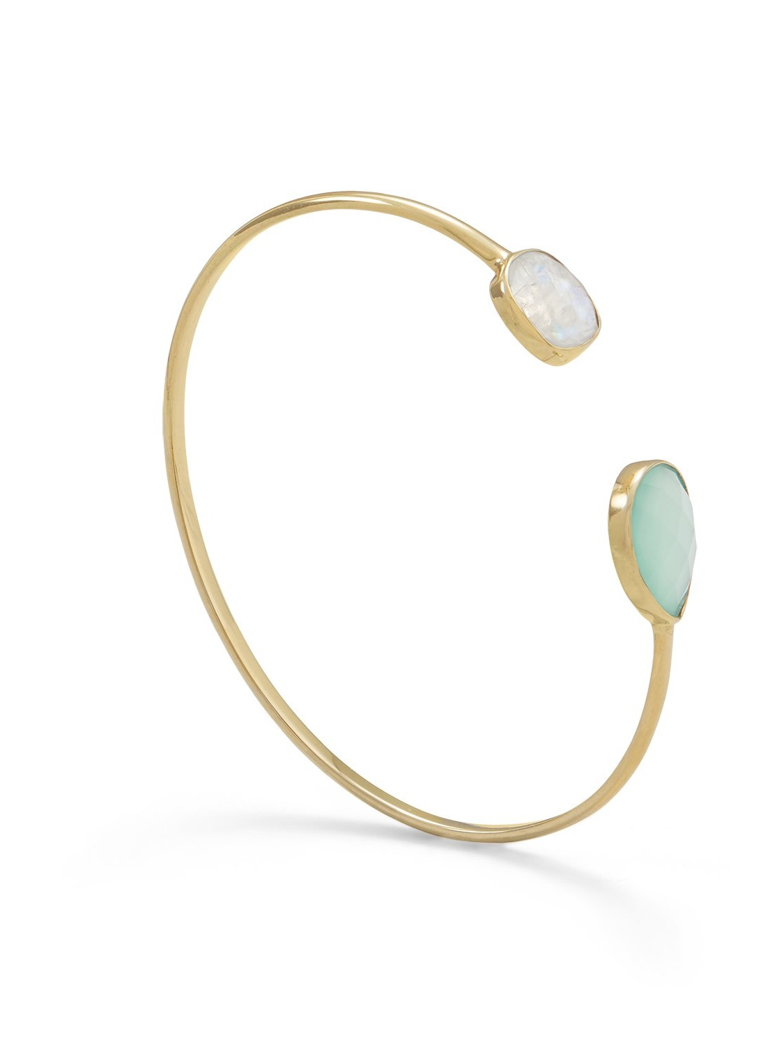 Gold-plated Rainbow Moonstone and Green Chalcedony Open Split Cuff Bracelet by unknown