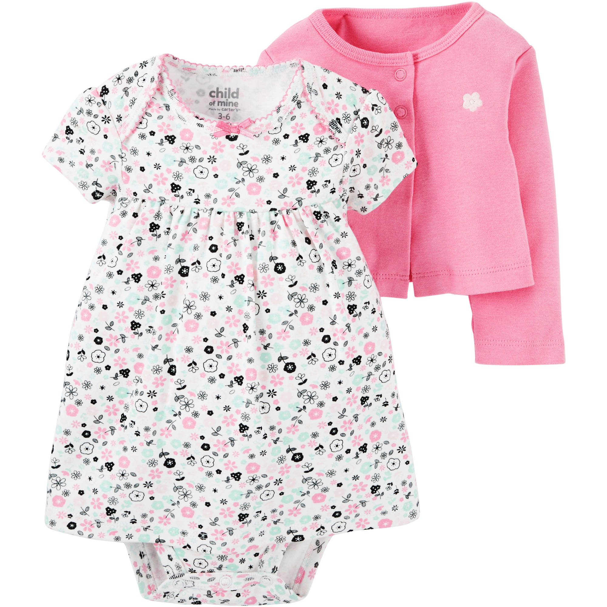 Child Of Mine by Carter's Newborn Baby Girl Dress And Cardigan Outfit 2-Piece Set
