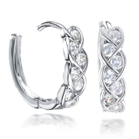Gemini Women's Gift Infinity Knot Twisted Huggie Round Hinged Hoop Swarovski Cubic Zirconia Earrings Gm072 , Color: White Gold (Huggie Twisted Earrings)