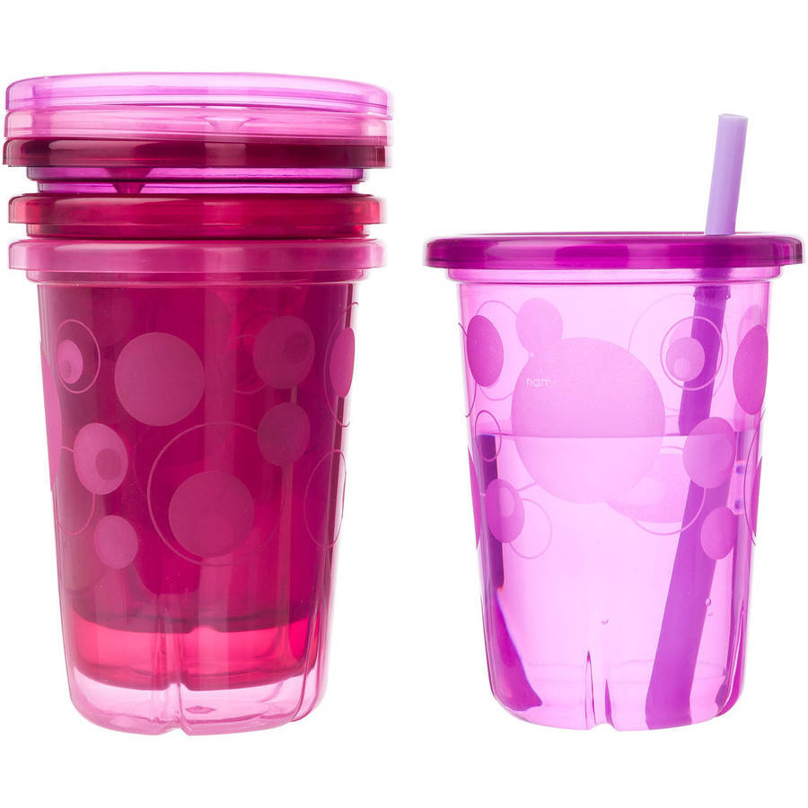 The First Years Take & Toss Pink Straw Cups, BPA-Free - 10 oz, 4 count