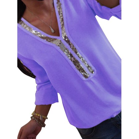 - Womens Sequin V Neck Long Sleeve Tops Ladies Casual Club T-Shirt Blouse Pullover