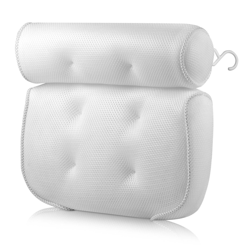 TXIN Bath Bathtub Pillows for Tub Head Shoulder Neck Back Support Spa Pillow Spa Bath Pillow for Bathtub Luxury Soft Extra Thick Non-slip 3D Air Mesh Bath Pillows with 6 Strong Suction Cups Hook