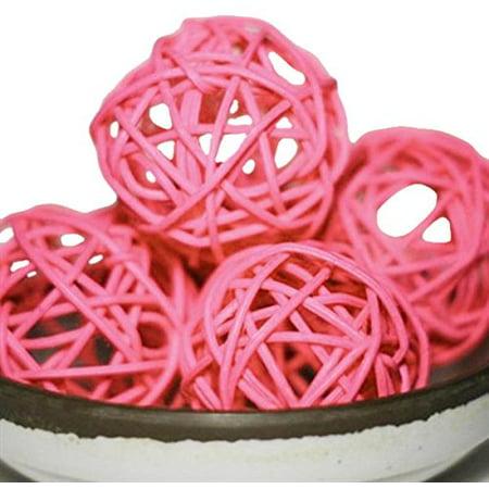 Firefly Imports Wood Twig Rattan Wicker Balls, Pink, Medium ()