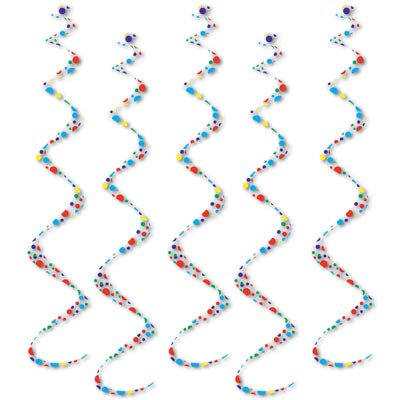 Pack of 30 Colorful Polka Dot Hanging Spiral Streamer Birthday Party Decoration Twirly Whirlys 24