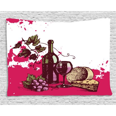 Wine Tapestry, Vintage Sketchy Artwork Cheese Alcoholic Drink Fruit Abstract Design, Wall Hanging for Bedroom Living Room Dorm Decor, 80W X 60L Inches, Hot Pink Olive Green Cream, by Ambesonne](Hot Alcoholic Drinks For Halloween)