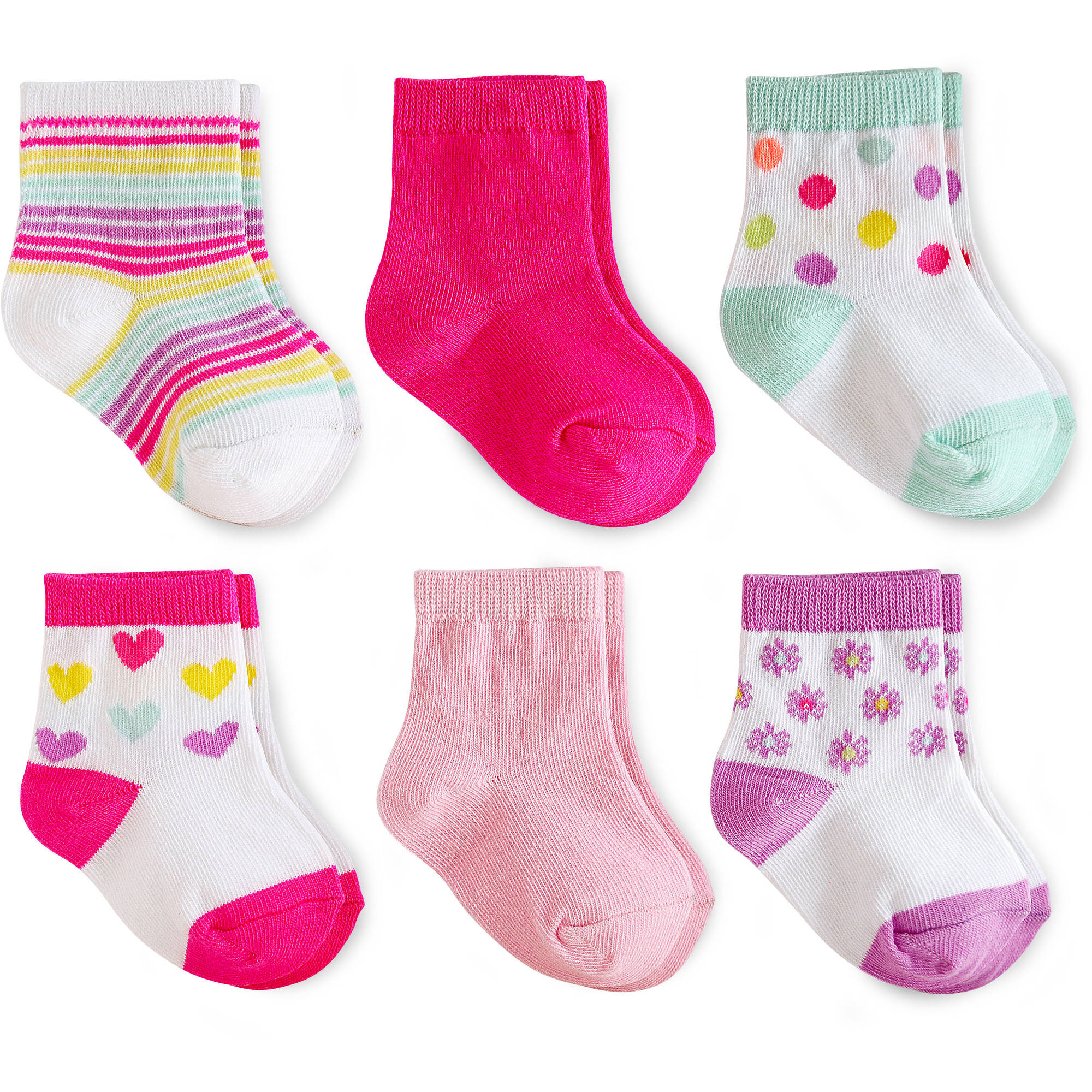 Garanimals Baby Toddler Girl Striped Crew Socks Ages NB-5T, 6-Pack