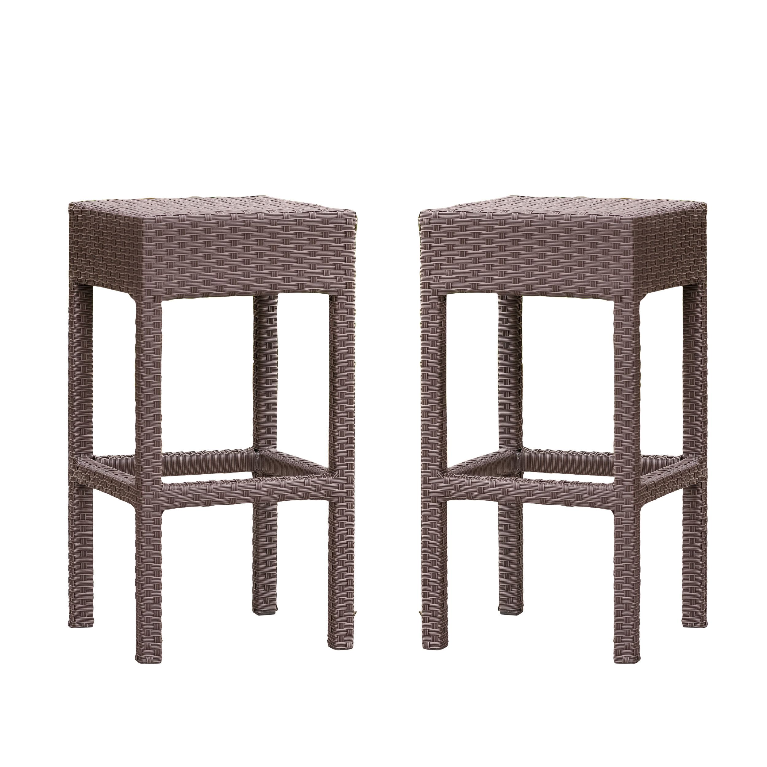 Marcel Outdoor Brown Wicker Backless Bar Stool (Set of 2)