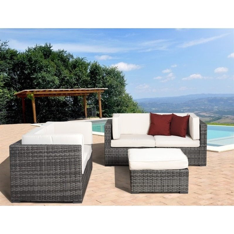 Nice 5-Piece Grey Wicker Seating Set w/Off-White Cushions