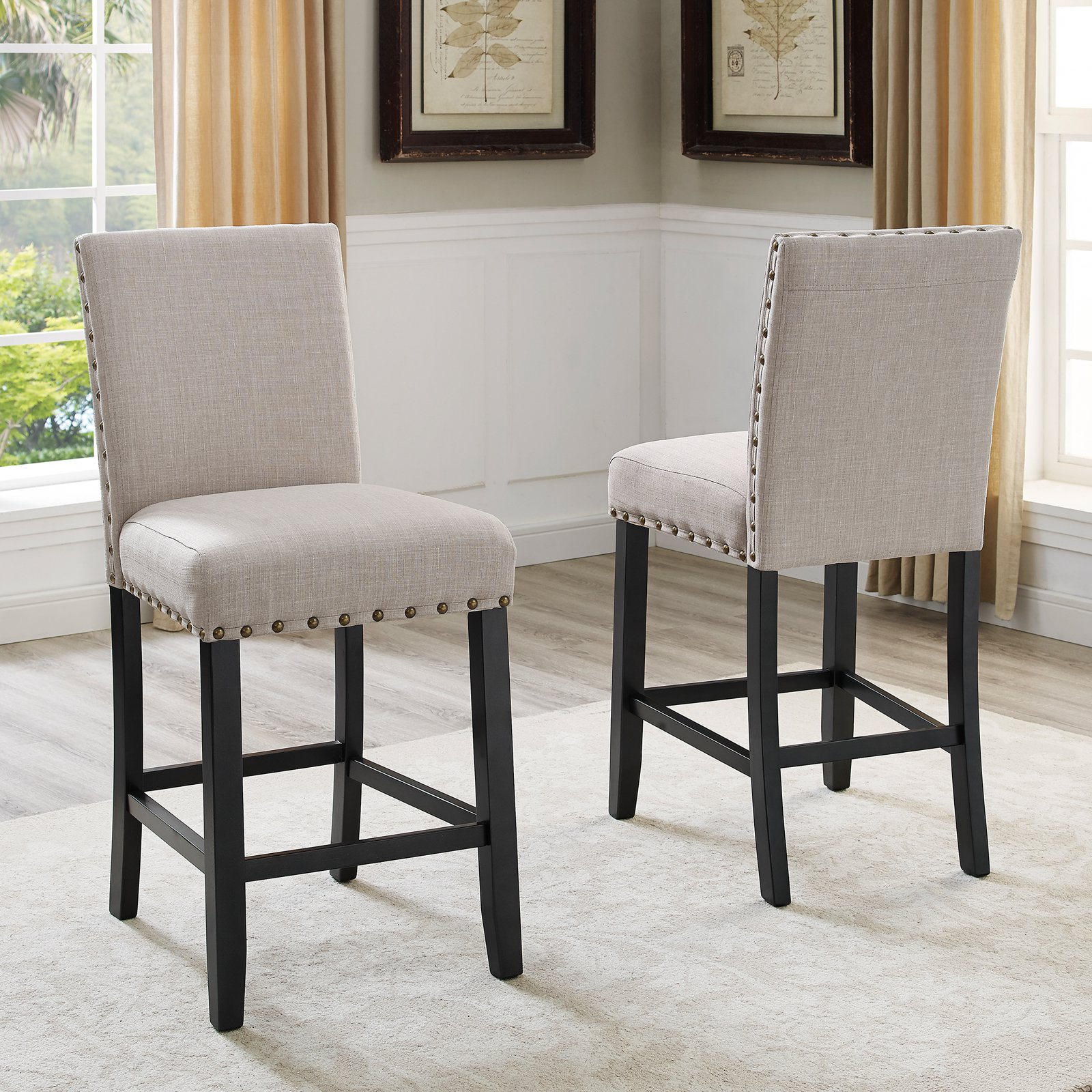 Roundhill Furniture Biony Fabric Nail Head Counter Height Stools, Tan