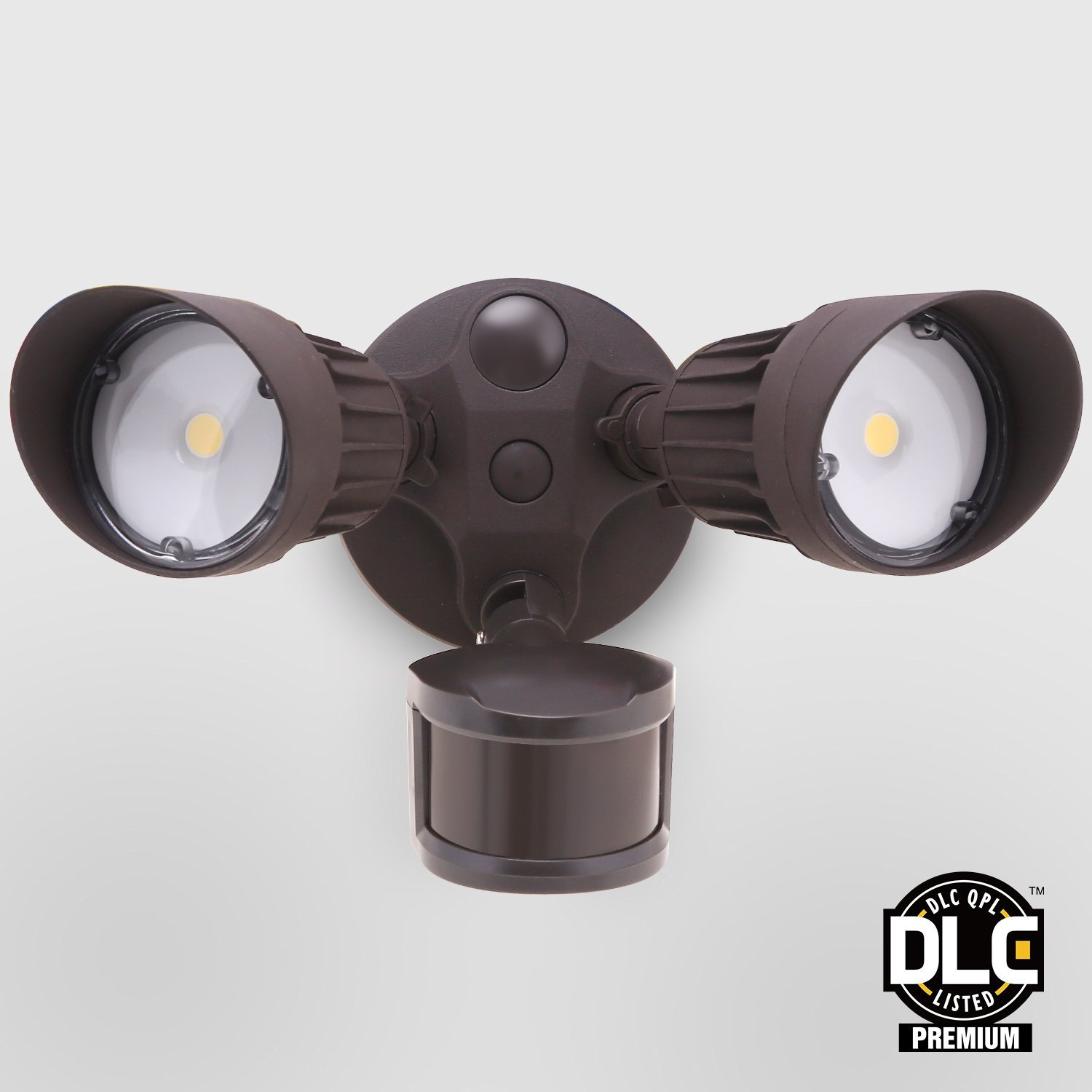 LEONLITE Dual-Head Motion-Activated LED Outdoor Security Light, Photocell Included, ETL & DLC Listed, 20W (150W Equiv.), 3 Lighting Modes, 3000K Warm White, Bronze
