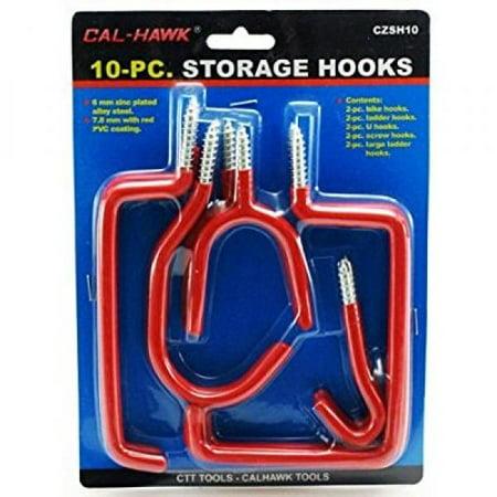 10pc Storage Hooks Assorted Bike Ladder U Screw Large Garage Set Peg Board CZSH1