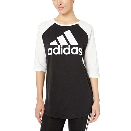 NEW Adidas Women's Athletic Cotton Sport ID Baseball Crew Neck T-Shirt