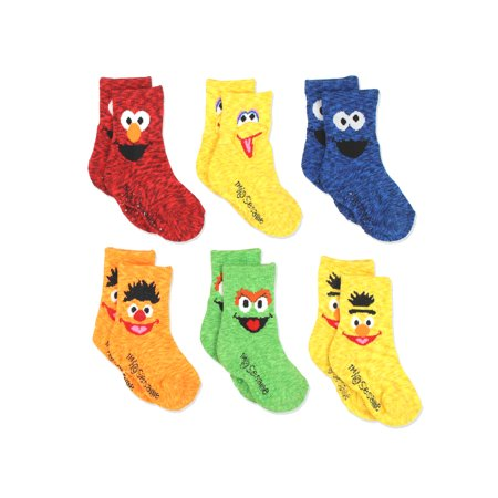 Sesame Street Elmo Boys Girls Multi Pack Crew Socks with Grippers SS9329