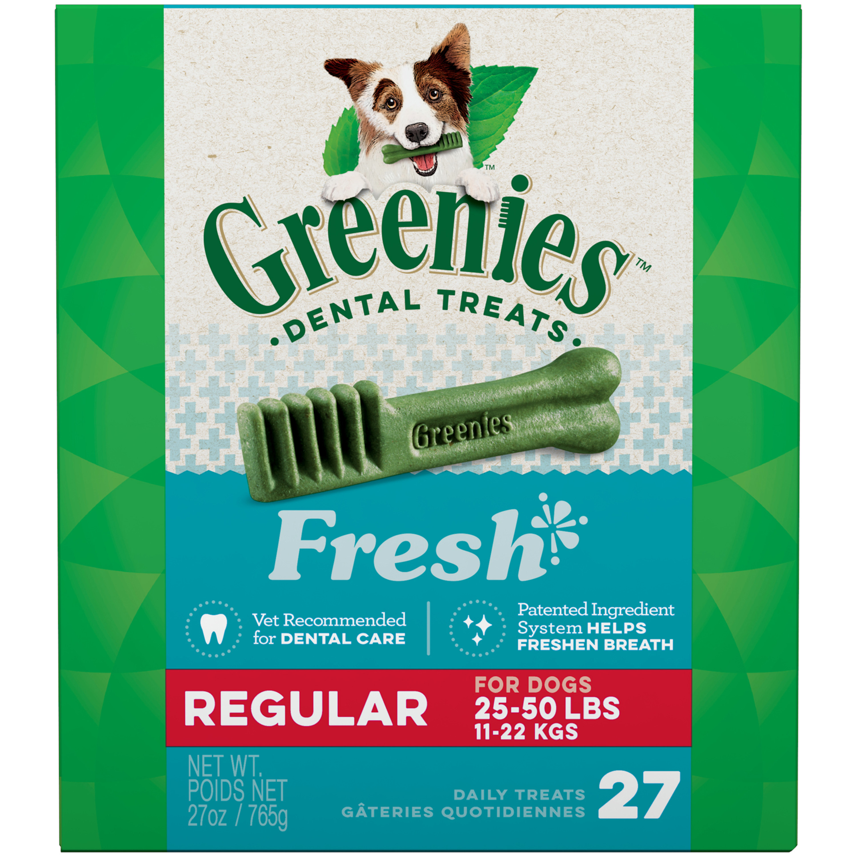 GREENIES Fresh Regular Size Dental Dog Treats, 27 oz. Pack (27 Treats)
