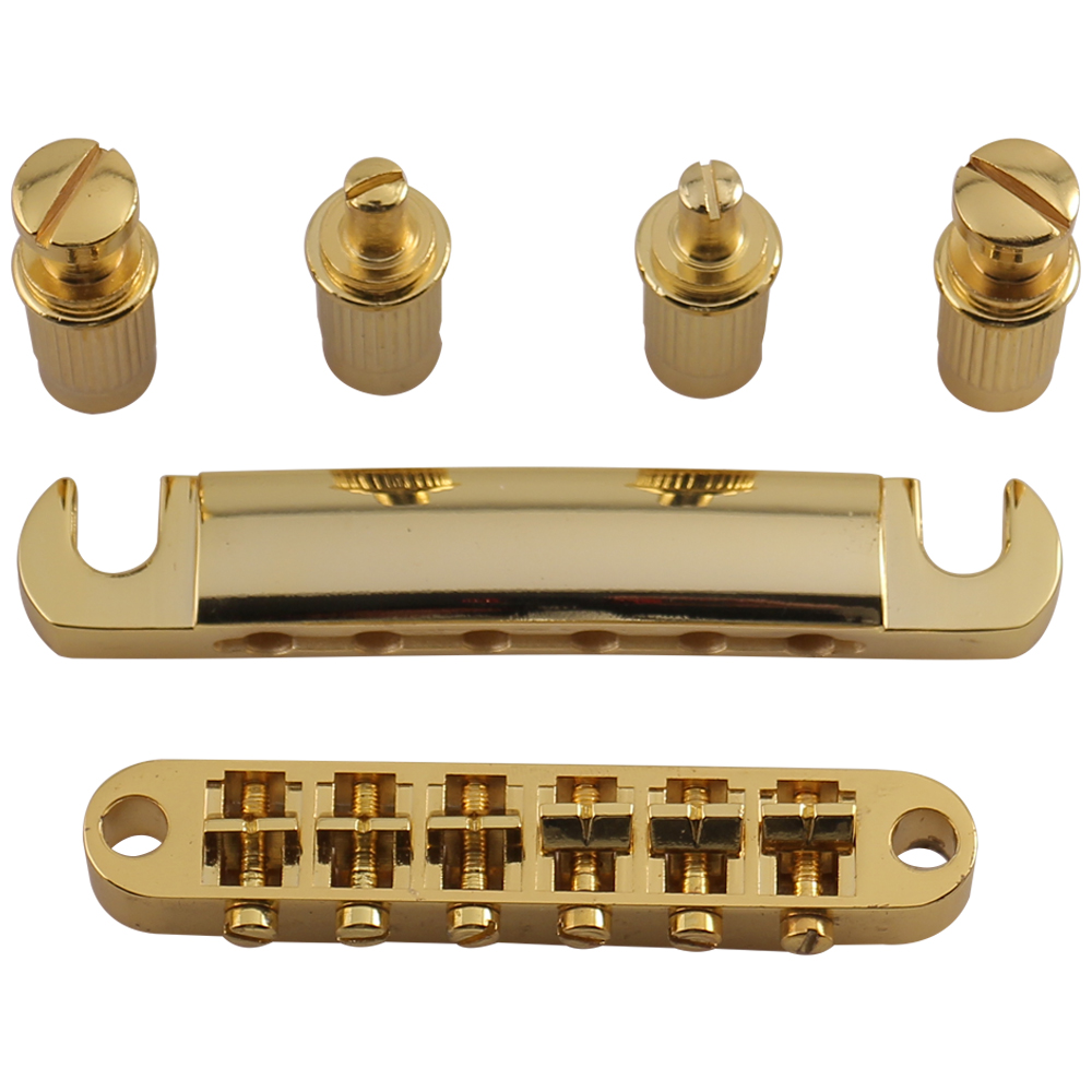 Seismic Audio  Gold Tuneomatic Guitar Bridge with Posts for LP Electric Guitar Gold - SAGA21