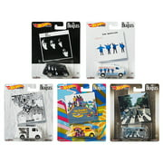 Hot Wheels 2019 Pop Culture The Beatles Series Premium Adult Collectible Set of 5, 1/64 Scale Diecast Model Cars DLB45-946C