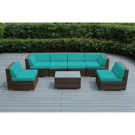 Ohana 7 Piece Outdoor Wicker Patio Furniture Sectional Conversation Set - Mixed Brown Wicker ()