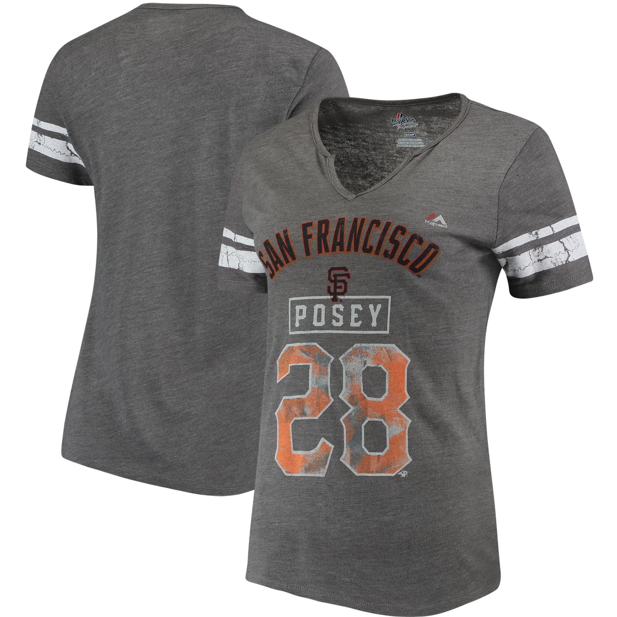 Buster Posey San Francisco Giants Majestic Women's Knucklecurve V-Notch T-Shirt - Gray