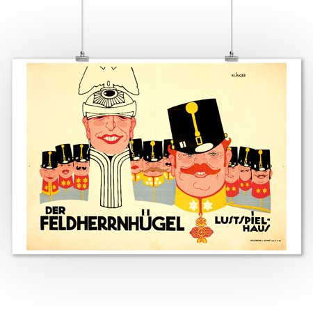 1910 Art Poster (Der Feldherrnhugel Vintage Poster (artist: Julius Klinger) Germany c. 1910 (9x12 Art Print, Wall Decor Travel Poster) )