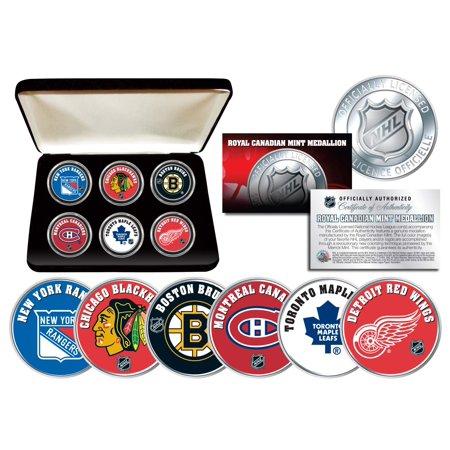 NHL ORIGINAL SIX TEAMS Royal Canadian Mint Medallions 6-Coin Set w/Display Box
