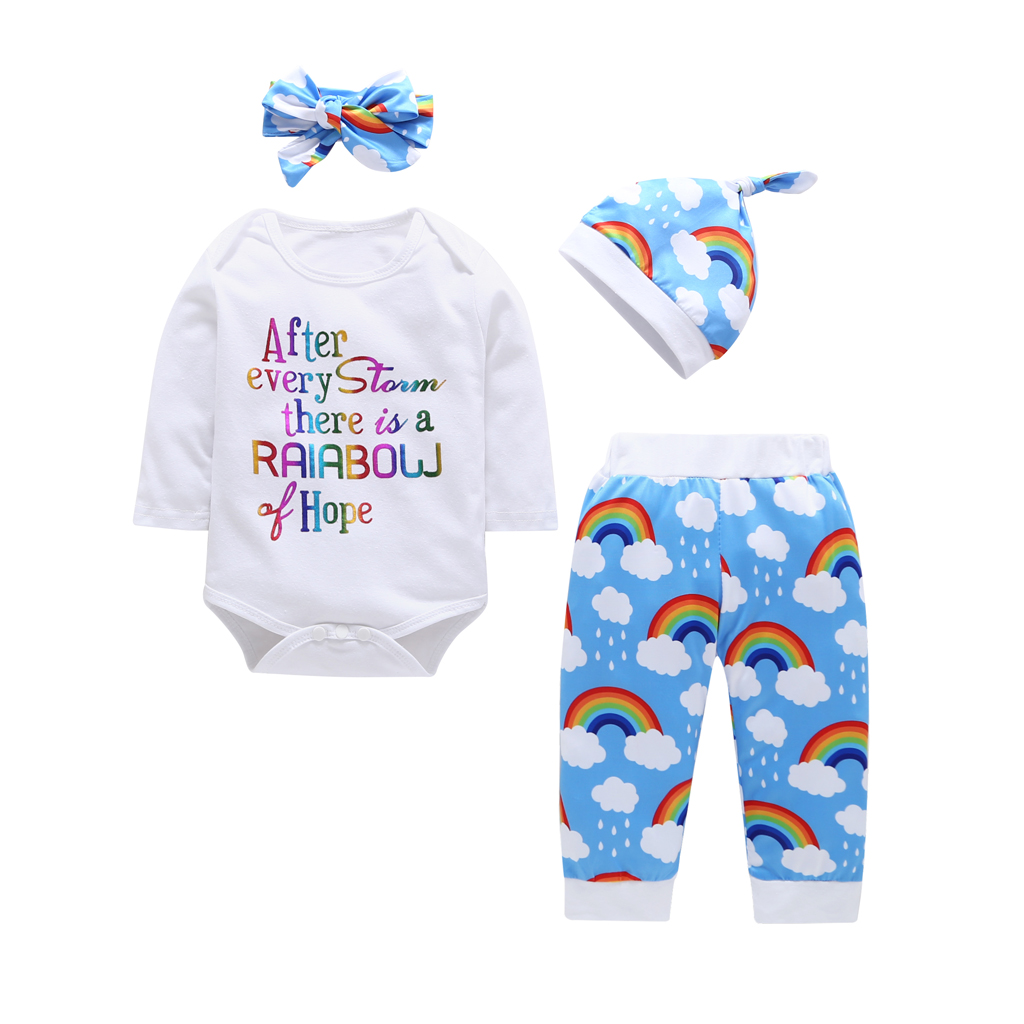 4pc Baby Boys Girls Long Sleeve Romper and Rainbow Pant Outfits Set Fall Winter Clothes 18-24M