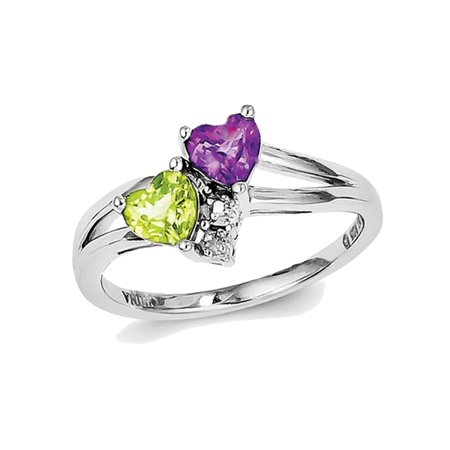 Natural Amethyst and Peridot Heart Ring 7/10 Carat (ctw) in Sterling Silver ()