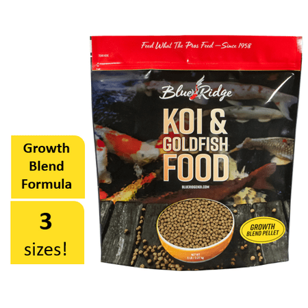 Koi Fish Feed (Blue Ridge Growth Formula Koi & Goldfish Food, Blend Fish Food Pellets, 5)
