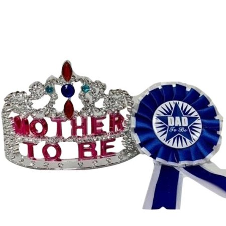 Plastic Princess Mother To Be Tiara Crown With Dad To Be Badge - Plastic Prince Crown