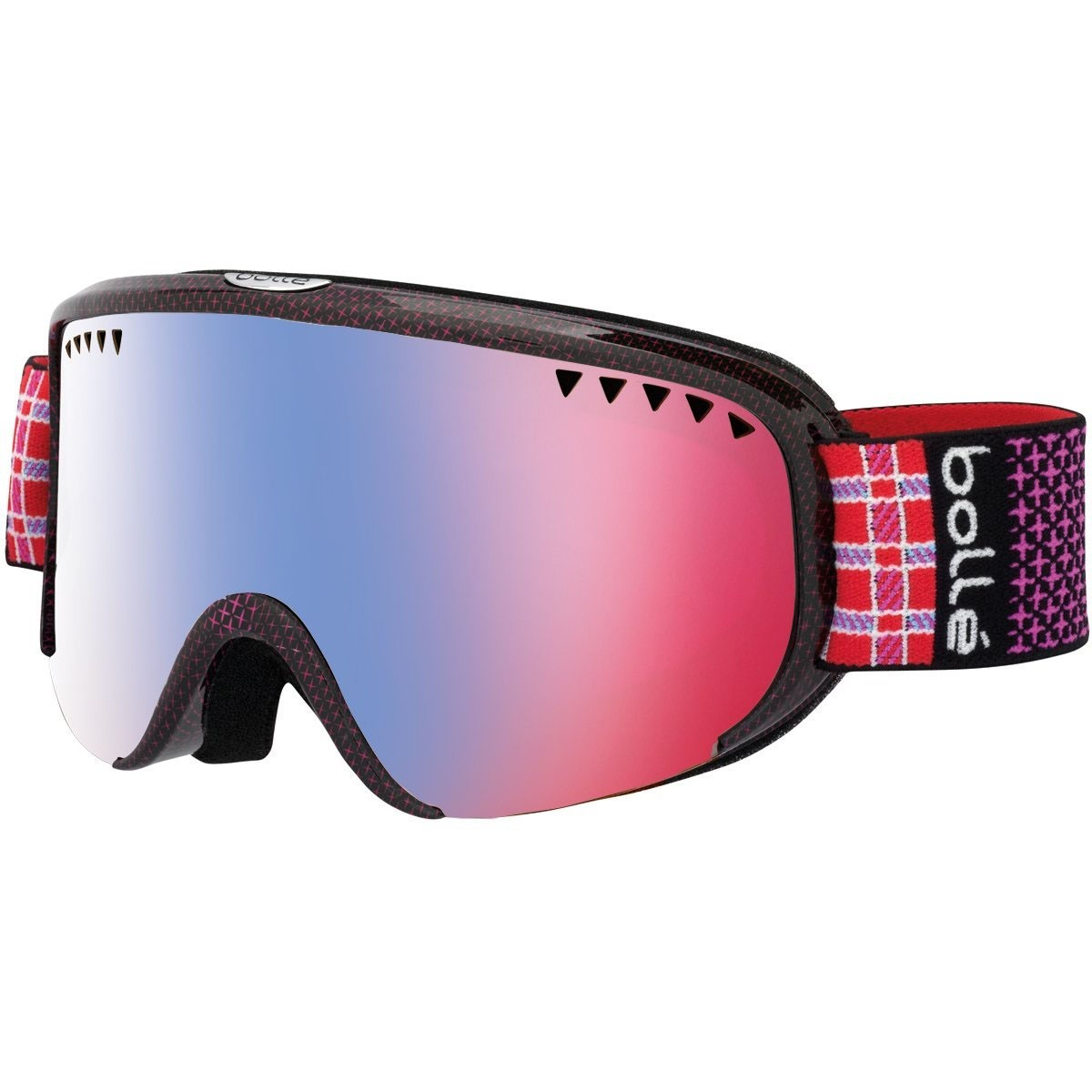 *Bolle Goggles 21317 Shiny Pink Plaid Vermillon Blue Scarlet