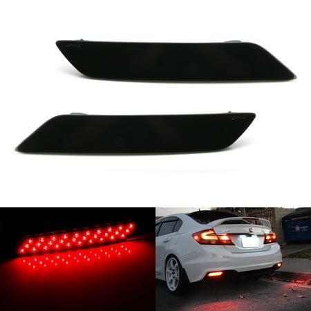 iJDMTOY Complete 60-SMD Smoked Lens Full LED Bumper Reflectors Tail/Brake Light, Rear Fog Lighting Kit For 2013-2015 9th Gen Honda Civic Sedan