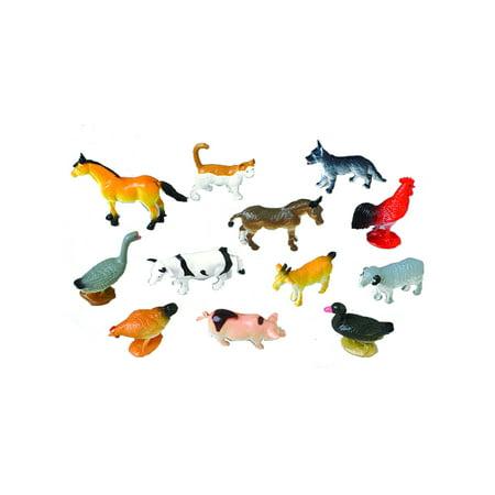 Mini Farm Animal Set Diorama Recreation 12 Pack Toys - Farm Animal Set