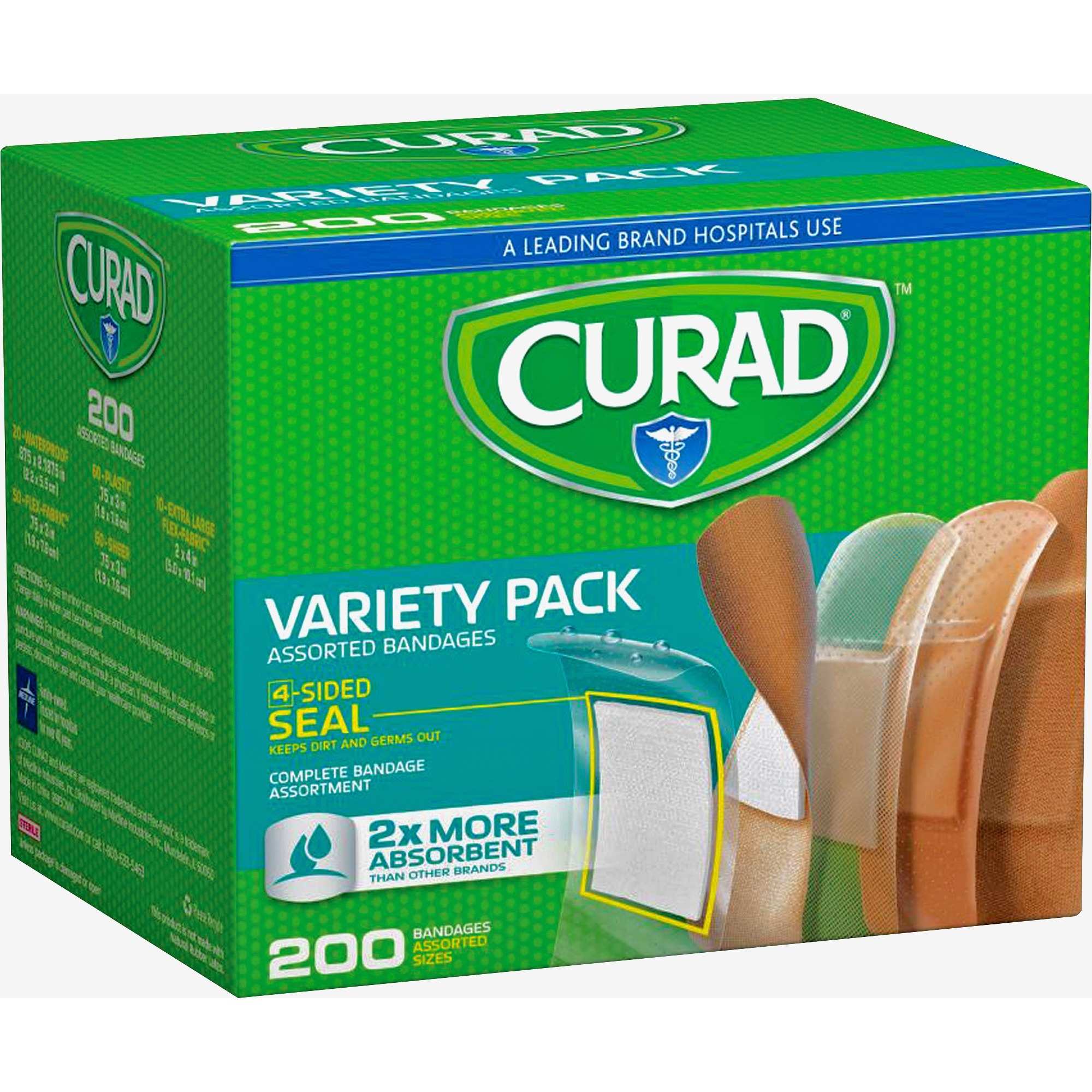 Curad, MIICUR0800RB, Variety Pack 4-sided Seal Bandages, 200 / Box, Assorted