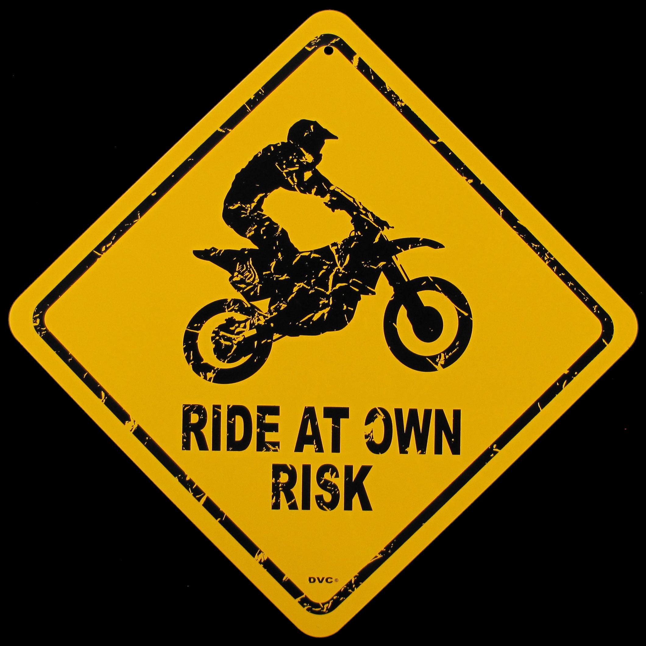 Caution Ride At Own Risk Enduro Trials Motocross Dirt Bike Metal Warning Sign Walmart Com Walmart Com