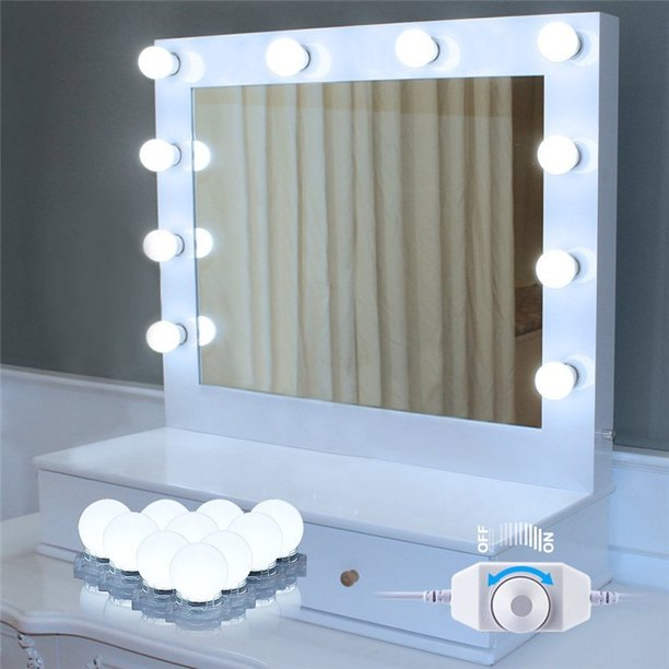Led Vanity Mirror Lights Kit Fosa Makeup Mirror Lighting Fixture With 10 Dimmable Bulbs For Vanity Table Set Bathroom Mirror Mirror Not Included Walmart Com Walmart Com