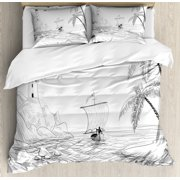 Beach Duvet Cover Set, Seascape Sketch with Boat Palm Tree and Lighthouse Coastal Hand Drawn Artwork, Decorative Bedding Set with Pillow Shams, Black and White, by Ambesonne