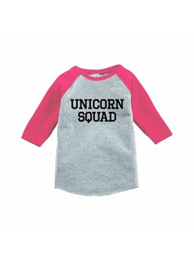 7 ate 9 Apparel Funny Kids Unicorn Squad Baseball Tee Pink - Youth XL (18-20)