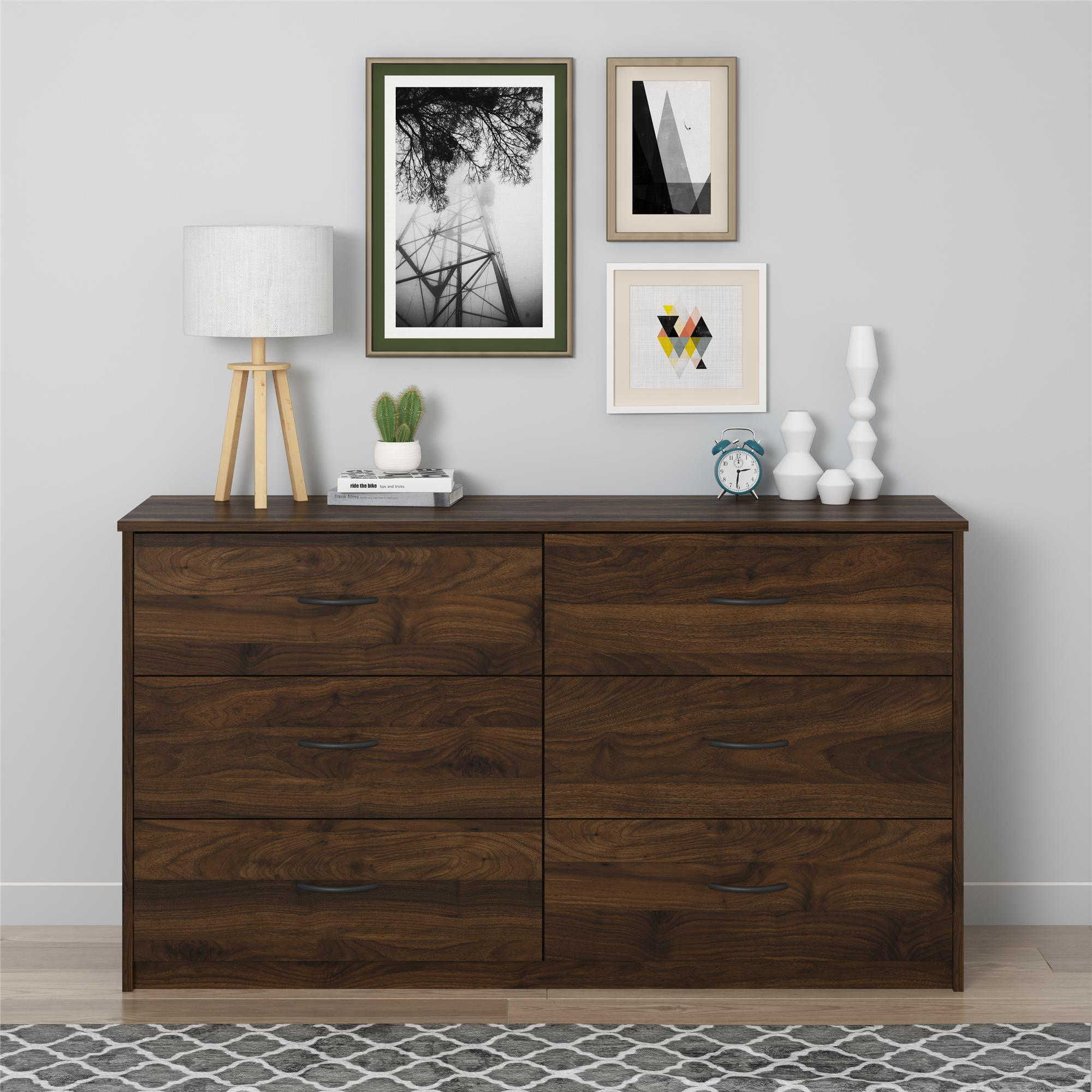 Mainstays 6 Drawer Dresser, Columbia Walnut