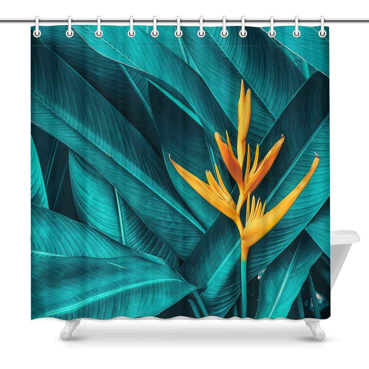Gckg Colorful Flower Shower Curtain Tropical Foliage Polyester Fabric Shower Curtain Bathroom Sets 66x72 Inches