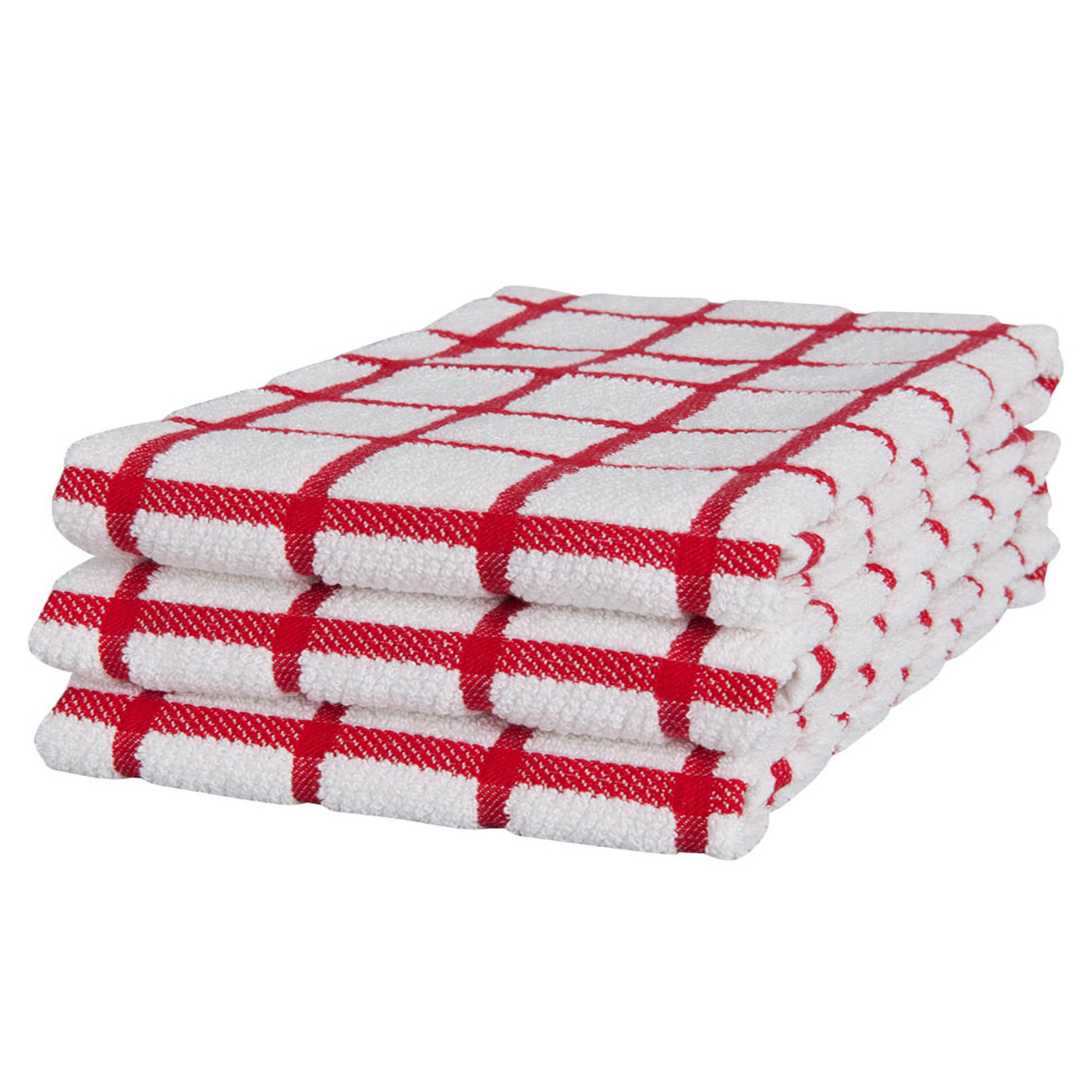 KAF Home Terry Towel Grid Set Of 3, Red