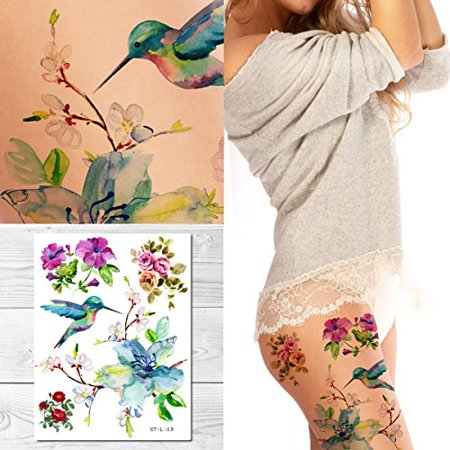 Supperb Temporary Tattoos - Spring flowers & Hummingbird - Tattoos Birds