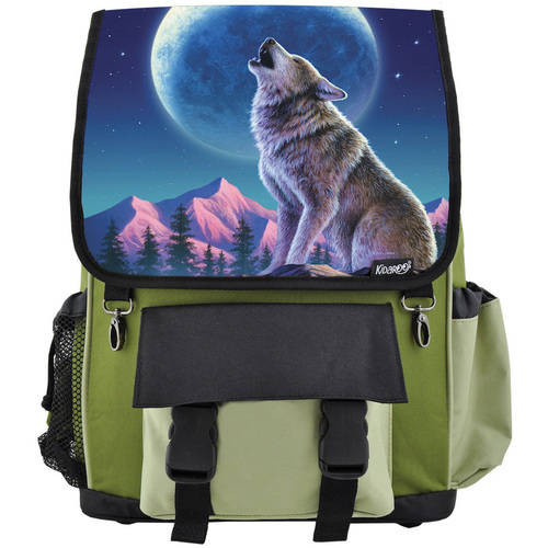 Kidaroo High Quality Wolf Moon Howl School Backpack For Boys, Girls and Kids, Multiple Colors Available